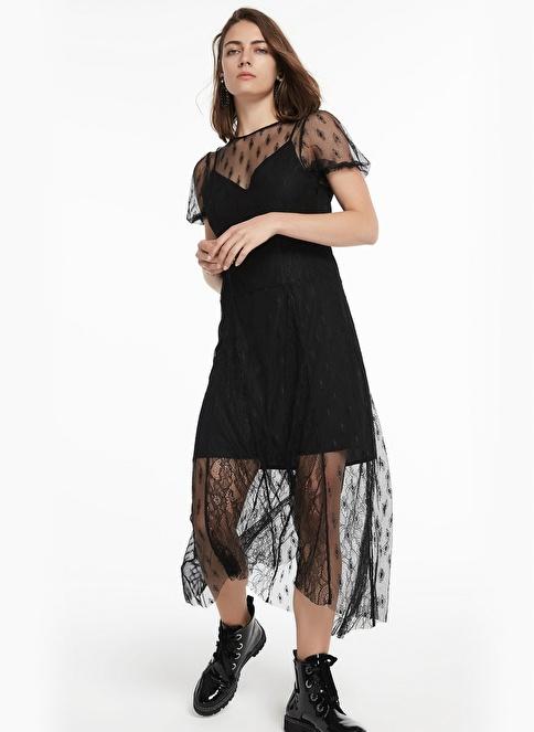 Twist Sırt Dekolteli Dantel Form Elbise Siyah